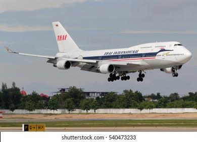 Chiangmai, Thailand. July 22, 2013. Thai Airways International Boeing 747-400 Retro Special Livery Reg.Hs-TGP on Short Final for Landing at Chiangmai International Airport.
