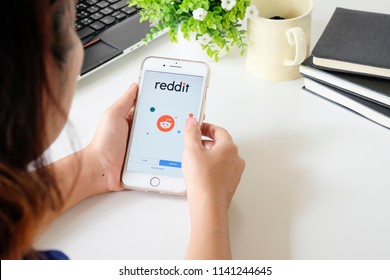 CHIANGMAI, THAILAND - JULY 24, 2018: Reddit login application on iPhone 7 plus screen. Reddit is an American news sharing, discussion and web content rating website. Illustrative editorial.