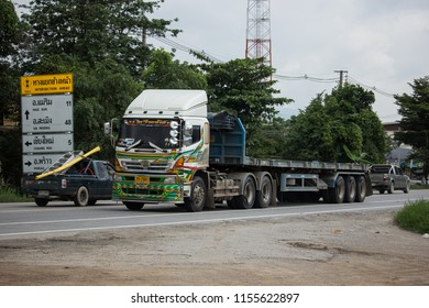 Chiangmai, Thailand - July  24 2018: Private Hino  Cargo Truck. Photo at road no.1001 about 8 km from downtown Chiangmai, thailand.