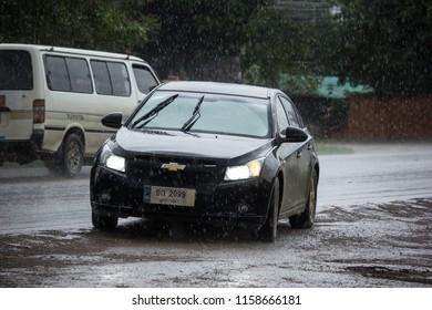 Chiangmai, Thailand - July  24 2018:  Private car, Chevrolet Cruze. On road no.1001, 8 km from Chiangmai city.