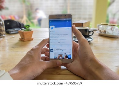 "CHIANGMAI, THAILAND - JULY 24,2016:Samsung note 5 open Twitter application,Twitter is an online social networking and microblogging service that enables users to send and read ""tweets"""