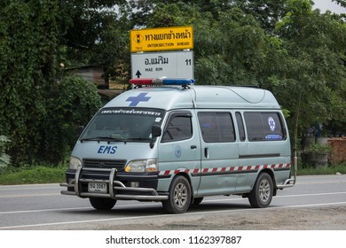 Chiangmai, Thailand - July  30 2018: Ambulance van of Sansai Luang Subdistrict Administrative Organization. Photo at road no.121 about 8 km from downtown Chiangmai, thailand.