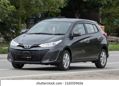 Chiangmai, Thailand - July  31 2018: New Private Car toyota Yaris Hatchback Eco Car.  Photo at road no 121 about 8 km from downtown Chiangmai thailand.