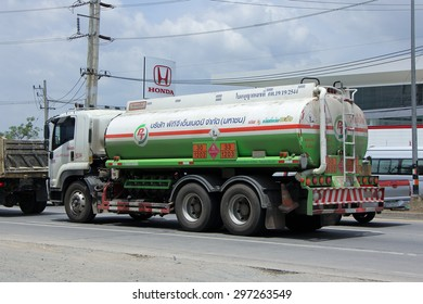 CHIANGMAI, THAILAND -JULY  4 2015:  Oil Truck of PTG Energy Oil transport Company. Photo at road no.1001 about 8 km from city center, thailand.