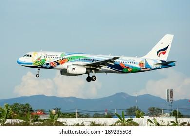 CHIANGMAI, THAILAND - JULY 7 2010: HS-PGV Airbus A320-200 of Bangkokairway airline , landing to Chiangmai airport from Bangkok Suvarnabhumi. thailand.