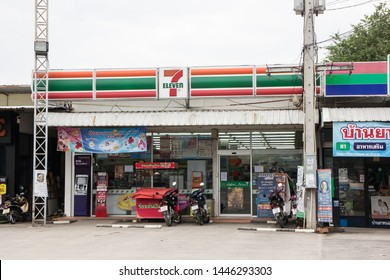 Chiangmai, Thailand - July 9 2019:   7-11 store. Location on road no121.  About 6 km from chiangmai city. Chiangmai, Thailand.