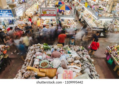 Chiangmai, Thailand - Jun 10,2018 : Chiangmai street market (Warorot Market) in Thailand abounds with various sorts of fresh fruit and other food. People shopping at highwayman.