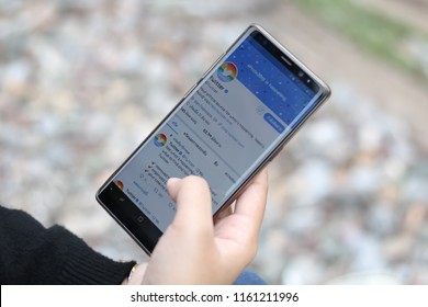 CHIANGMAI, THAILAND -JUN 14,2018:Women hand holding smartphone and using Twitter application,Twitter is an online social networking.