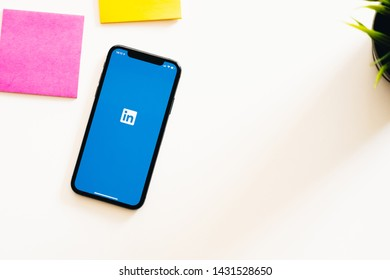 CHIANGMAI, THAILAND - JUN 23,2019 : An Apple iPhone Xs with LinkedIn application on the screen.LinkedIn is a photo-sharing app for smartphones.