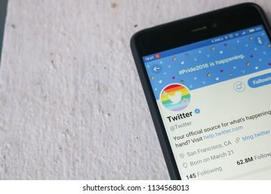 CHIANGMAI, THAILAND -JUN 27,2018:Smartphone open Twitter application,Twitter is an online social networking.