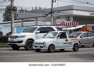 Chiangmai, Thailand - June 19 2018: Coconut Icecream shop on Daihatsu Mira Mini Truck. Photo at North Highway road of chiangmai city.
