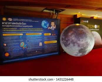 Chiangmai, Thailand - June 21, 2019:  Astronomical exhibition at the Thai Astronomical conference (Student Session) organized by National Astronomical Research Institute of Thailand.