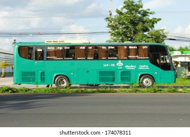 CHIANGMAI,  THAILAND - JUNE  22 2008 :  Greenbus company bus route Thungchang and Chiangmai. Photo at road no11.  About 4 kilometers to the Bus Terminal. thailand.