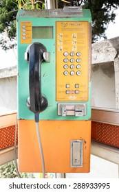 CHIANGMAI, THAILAND -JUNE 22, 2015:public telephone in Thailand