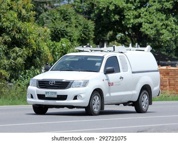 CHIANGMAI , THAILAND -JUNE 29 2015 :    Pickup  truck of True company. Intenet Service in Thailand. Photo at road no 121 about 8 km from downtown Chiangmai, thailand.