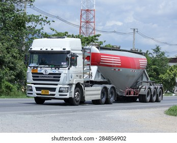 CHIANGMAI , THAILAND -JUNE 4 2015:  Cement truck of Phadungrit Transport. Photo at road no.1001 about 8 km from city center, thailand.