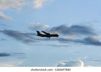 Chiangmai, Thailand -  June  8 2007: HS-TRA ATR72-200 of Nokair.  Landing to Chiangmai airport from Maehongson.