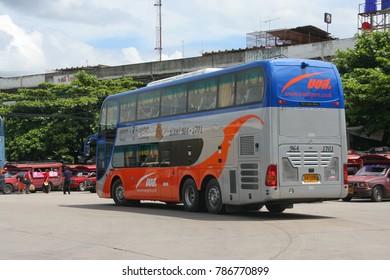 CHIANGMAI , THAILAND- JUNE 9 2009: Benz bus of Transport government company. Bus route Bangkok and Chiangmai. Photo at Chiangmai bus station.