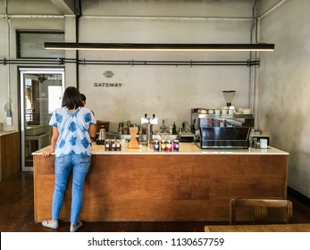 CHIANGMAI, THAILAND - June 9 2018: Gateway coffee roaster Chiangmai located on Chang Moi Rd Soi 2, Chiangmai. Serves coffee and cake. Interior and decoration of a loft design in industrial styles