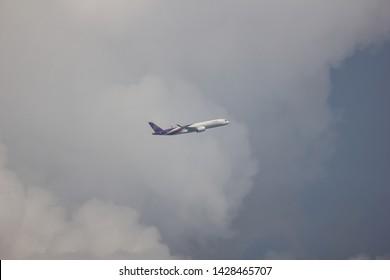 Chiangmai, Thailand - June 9 2019:  HS-THG Airbus A350-900 of Thaiairway TG105. Take off from Chiangmai airport to Bangkok.