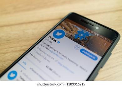 CHIANGMAI, THAILAND -MAR 19,2018:Smartphone open Twitter application,Twitter is an online social networking.