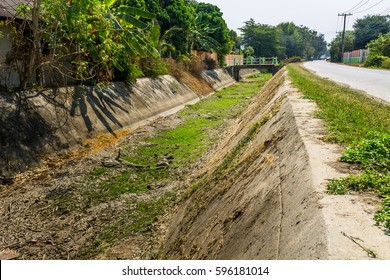 ChiangMai, Thailand. March, 06-2017: The irrigation canal in rural area of Chiang Mai province has been drought due to the fact that long summer time coming this year.