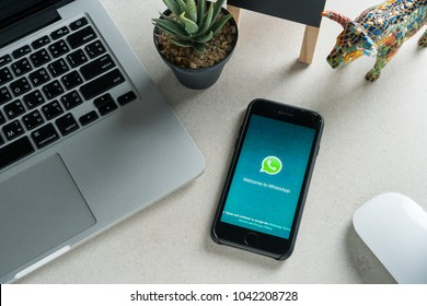 CHIANGMAI, THAILAND - MARCH 10 , 2018 : Whatsapp is social Internet service. it can be send text messages, documents, images, video, user location and audio messages.