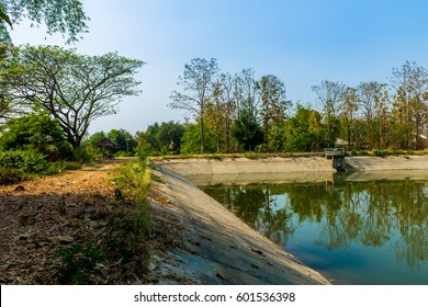 ChiangMai, Thailand. March, 14-2017: Irrigational pond  was preserved in rural area due to water reservation for agricultural purposes.