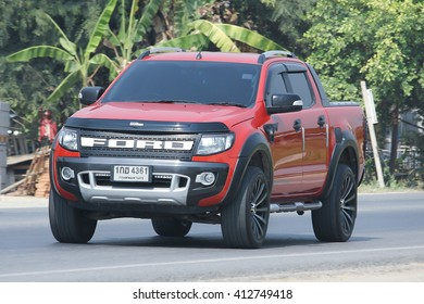 CHIANGMAI, THAILAND -MARCH 21 2016:  Private Pickup car, Ford Ranger. On road no.1001, 8 km from Chiangmai city.
