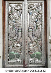 Chiangmai Thailand. March 25 2018. The Beautiful Two Angles carve on The & Thai Door Images Stock Photos u0026 Vectors | Shutterstock