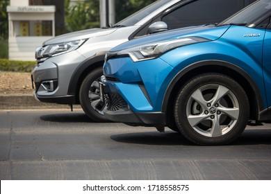 Chiangmai, Thailand - March  25 2020: New Toyota CHR Subcompact Crossover SUV Hybrid Car. Car on road No.121 to Chiangmai City.