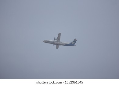 Chiangmai, Thailand - March 26 2019: RDPL-34175 ATR72-500 of Lao Airlines in Smoke and Pollution Haze sky. In Flight Chiang mai to Luang Prabang.