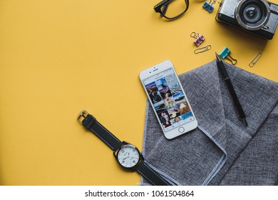 CHIANGMAI THAILAND - March 26,2018: Apple iPhone with shutterstock Instagram application on the screen. Instagram is a photo-sharing app for smartphones.