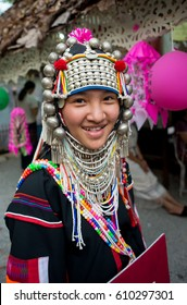 CHIANGMAI, THAILAND - MARCH 28,2017: Unidentified Akha kidl with traditional clothes at Chiangmai, Thailand.