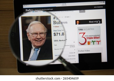 CHIANGMAI, THAILAND - March 31, 2015: Photo of Forbes article page about Warren Buffett
