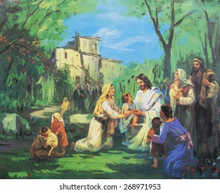 CHIANGMAI, THAILAND - MARCH 31, 2015. Printed image of Jesus teach people to have faith like the children in Grace Church Chiangmai, Thailand . Printed from end of 20 cent. Originally by Korean artist