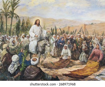 CHIANGMAI, THAILAND - MARCH 31, 2015. Printed image of Jesus going up to Jerusalem among a large crowd  in Grace Church Chiangmai, Thailand . Printed from end of 20 cent. Originally by Korean artist
