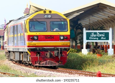 CHIANGMAI, THAILAND - MARCH  5  2014: Hitachi locomotive no.4519 for train no.14 from chiangmai to Bangkok. Photo at chiangmai railway station.