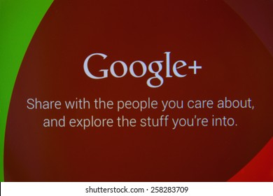 CHIANGMAI, THAILAND - MARCH 6, 2015: Google+ is Google's social network service to compete with Facebook and launched in late June 2011