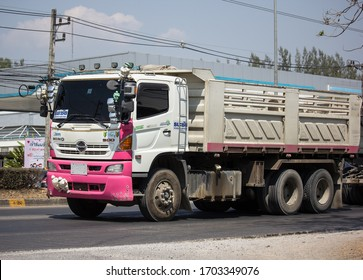 Chiangmai, Thailand - March  6 2020: Trailer Dump truck of Thanachai Company. On road no.1001, 8 km from Chiangmai city.