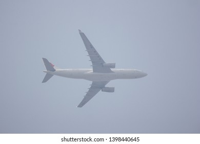 Chiangmai, Thailand - May 1 2019: B-5942 Airbus A330-200 of China Eastern Airline. Take off from chiangmai Airport to Shanghai.