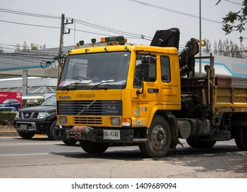 Chiangmai, Thailand - May 17 2019: Truck of Provincial eletricity Authority of Thailand. Photo at road no.1001 about 8 km from downtown Chiangmai, Thailand.