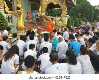 CHIANGMAI, Thailand - MAY 20, 2016: Unidentified runner running in Thai health Visakha puja mini  Marathon 2016 Run for a peace and wisdom starting at WAT Phra Sing around the chiangmai downtown