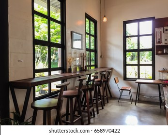 Chiangmai, Thailand - May, 2017 : Cottontree Coffee Roasters at Chiangmai, Thailand. Interior and decoration of a industrial loft coffee shop, cafe.