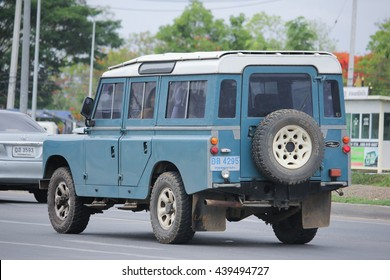 CHIANGMAI, THAILAND -MAY 21 2016:    Old Private car. Land Rover Truck. Photo at road no.121 about 8 km from downtown Chiangmai, thailand.