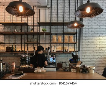 CHIANGMAI, THAILAND - May 21 2017: The coffee bar Nimman located at Nimmanhaemin R. Serves coffee and drinks. Interior and decoration of a Modern loft coffee shop, cafe.