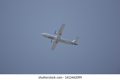 Chiangmai, Thailand - May 27 2019:  HS-PZD ATR72-600 of Bangkok Airway. Flight for  Chiangmai airport and Luang Prabang.