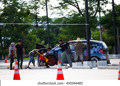 """CHIANGMAI, THAILAND - MAY 29 2016: An unidentified driver performs a drifting competition in the """"Gymkhana X Pro Northern"""""""