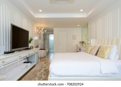 Chiangmai, Thailand - May 4, 2017 - Interior of a modern hotel room in white decor with a comfortable in Chiangmai Thailand.