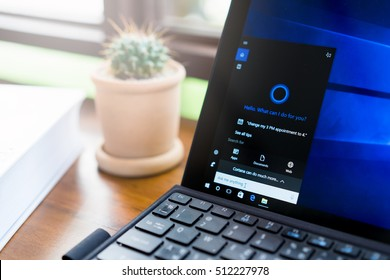 Chiangmai, Thailand - Nov 11, 2016: Using Microsoft Cortana on laptop. It is an intelligent personal assistant created by Microsoft in Windows 10 anniversary update.